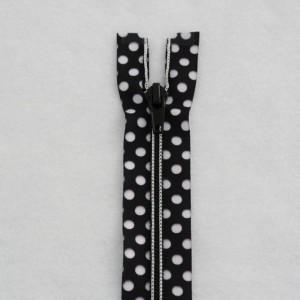 Black and white polka dots zipper