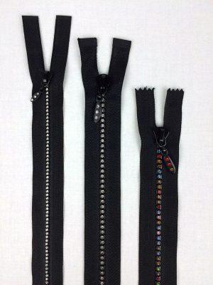 Rhinestone zippers